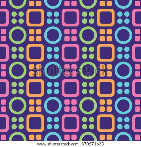 Abstract geometric seamless pattern with colorful circles and rounded squares.