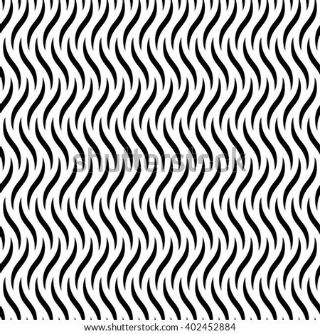 Abstract geometric seamless pattern with curved vertical lines. Simple black and white background.Vector illustration. Monochrome fantasy design. - stock vector