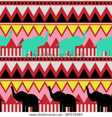 Abstract geometric seamless pattern with elephant, triangle and line tribal pattern. pink yellow black burgundy turquoise geometric print, ethnic hipster backdrop. Vector - stock vector