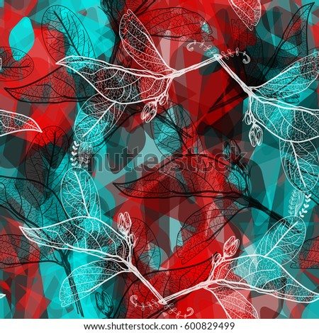 Abstract Geometric Seamless Pattern Leaves Contours Stock Vector ...