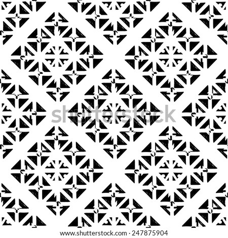 Abstract geometric seamless pattern with triangles in black and white. Monochrome repeating background texture - stock vector