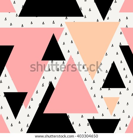 Abstract geometric seamless repeat pattern in black, cream, pastel pink and orange. Modern and stylish abstract design poster, cover, card design. - stock vector