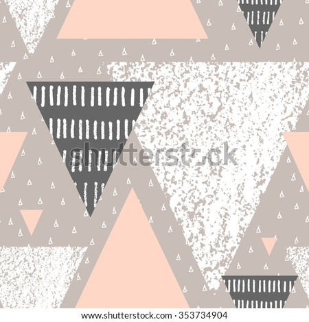 Abstract geometric seamless repeat pattern in white, gray and pastel pink. Hand drawn vintage texture, dots pattern and geometric elements. Modern abstract design poster, cover, card design. - stock vector
