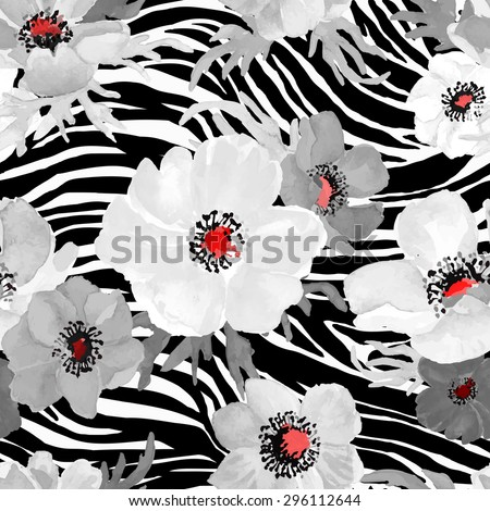 Abstract Geometric seamless zebra pattern with white and gray flowers drawing watercolor. Vector illustration. - stock vector