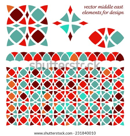 Abstract geometric set of design elements and ornament Middle East style.