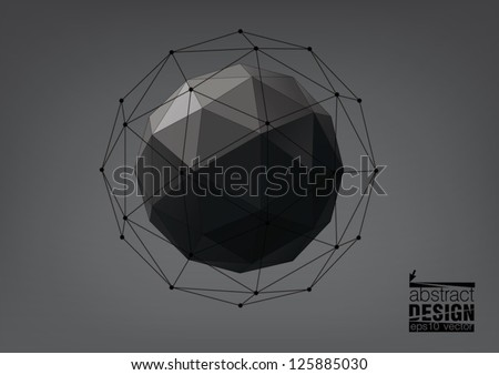 Abstract geometric shape from triangular faces on dark background, for graphic design - stock vector