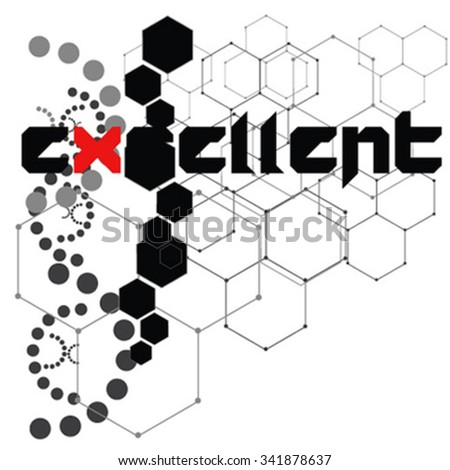 Abstract geometric shape from triangular faces on dark background, for graphic design