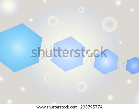 Abstract Geometric Shape Vector Background with Bubbles and Bright Blue Kite Like Hexagons - stock vector