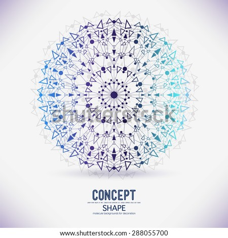 Abstract geometric shapes from circular dots and triangles connected by a molecular lattice mesh structure. - stock vector