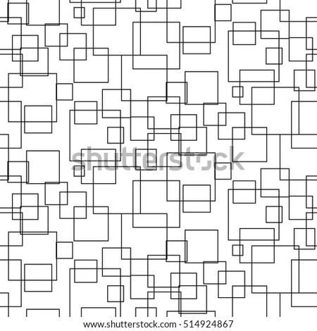 Abstract geometric shapes seamless vector pattern. Black and white simple shapes background for website wallpaper.