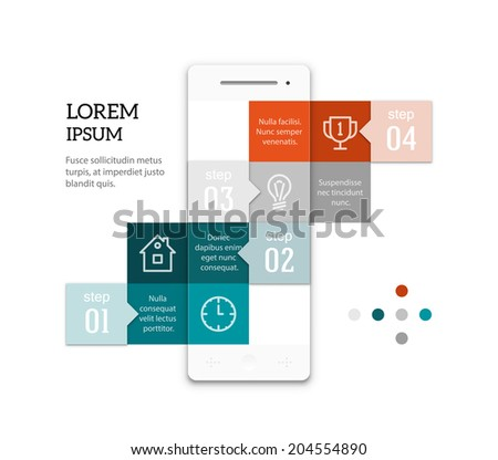 Abstract geometric smartphone infographic template. Ladder of squares with copyspaces. Sample text and icons. EPS10 vector image. - stock vector