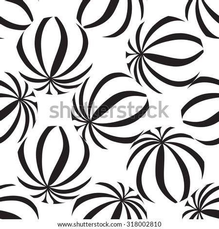 Abstract geometric striped balls seamless pattern. Circle grid texture for wallpaper, surface or cover. Black and white background. Abstraction wallpaper - stock vector