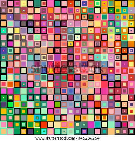 Abstract geometric style mosaic background with colorful square design concept
