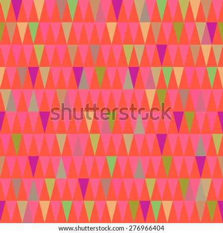 Abstract geometric triangle seamless pattern in vector. Colorful endless background for wrapping paper, web design backdrop, textile, card, illustration, visual identity.