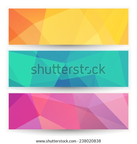 Abstract geometric triangular banners set - eps10 - stock vector