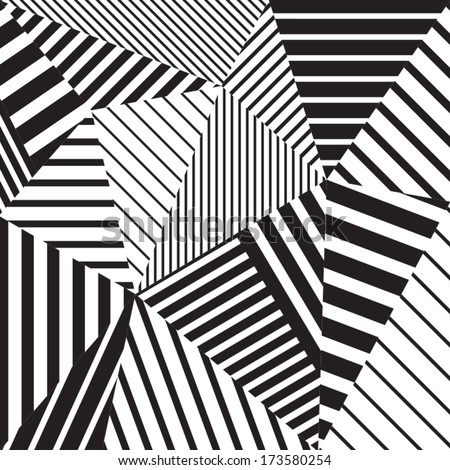 Abstract geometric vector black and white pattern - stock vector