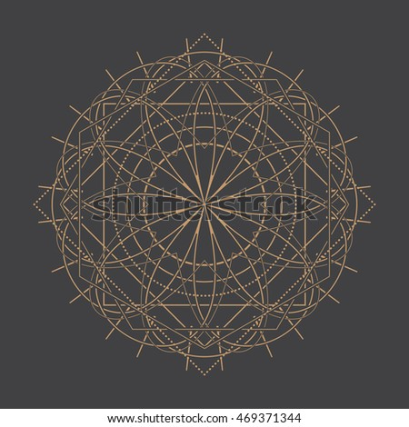 Abstract Geometric Vector Illustration - Gold Elements on Dark Background