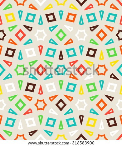 Abstract geometric vector pattern in multiple bright colors. Elegant vector background with geometric shapes and arabic motifs. Chic print for spring summer fashion, wrapping paper. Seamless texture - stock vector