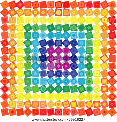 Abstract geometric vector rainbow squares background - stock vector