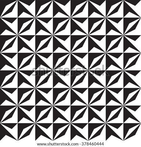 Abstract Geometric Vector Seamless Pattern. Black and White Contrast Background - stock vector