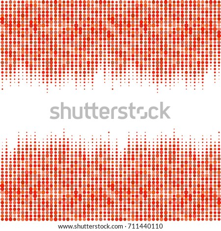Abstract geometric white red background with halftone effect. Mesh of random circles. Different size dots.