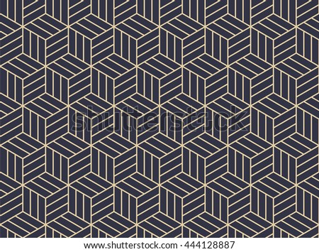 Abstract geometric with pattern streaked, rhombuses. A seamless vector background. Stylish graphic pattern. Gold and black blue ornament