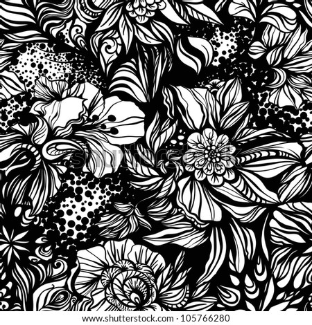 Abstract geometric zentangle Fantasy  floral seamless pattern for background or wrapping paper - stock vector