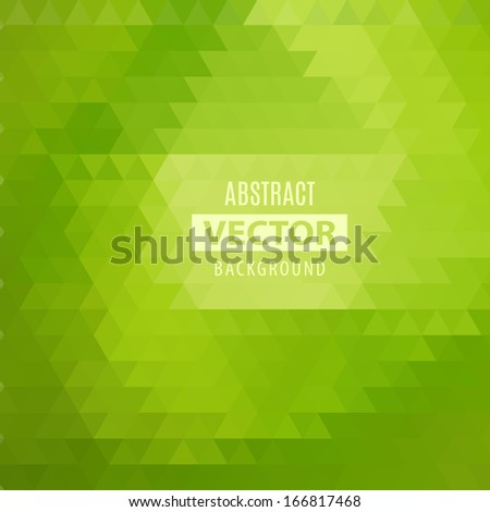 Abstract geometrical background with green triangles