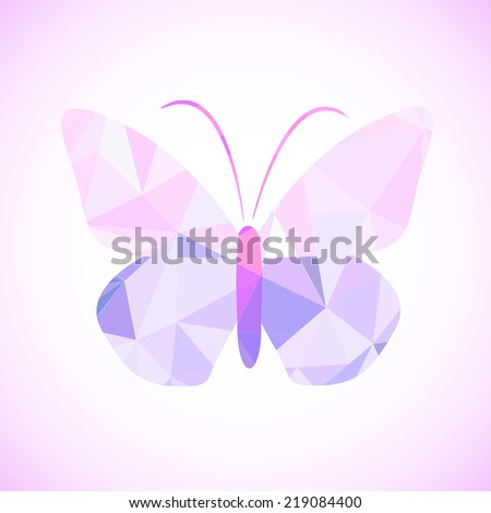 Abstract geometrical background with pink triangles. Vector butterfly  - stock vector