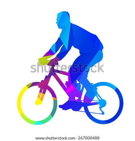 Abstract geometrical bicycle rider