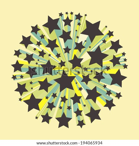 Abstract geometrical 3d multi-colored background. Stars explosion. Vector eps 10.  - stock vector