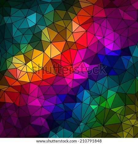 Abstract geometrical multicolored background consisting of bright triangular elements arranged on a black background. Vector illustration. - stock vector