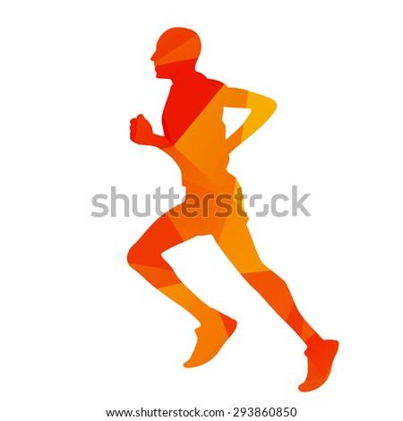 Abstract geometrical orange running man - stock vector