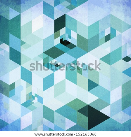 Abstract geometry blue vector grunge background - stock vector
