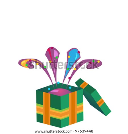 Abstract gift box on white background - stock vector