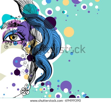 abstract girl with dots - stock vector