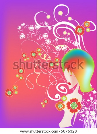 abstract girl with flowers