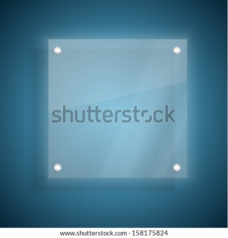 Abstract glass plate on blue background - stock vector
