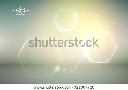 Abstract glass shapes with glare on the green background. Vector Illustration, eps 10, contains transparencies. - stock vector