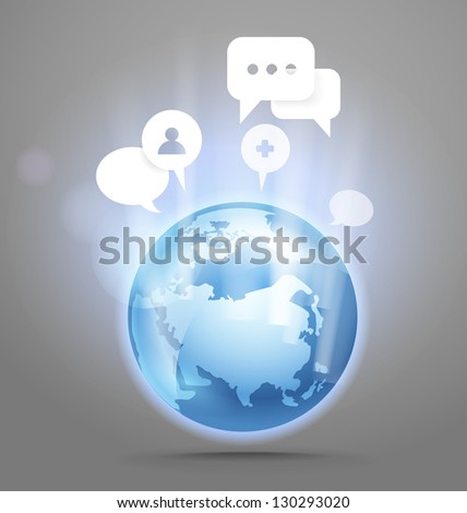 Abstract global communication scheme on Earth - stock vector