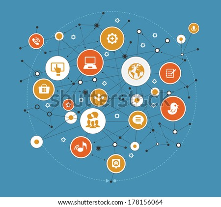 Abstract global computer network. Internet concept. Network background with nodes, social media and communication icons.  - stock vector