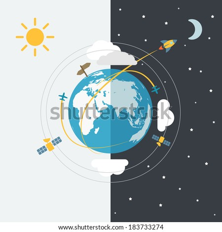 Abstract global modern transport scheme - stock vector