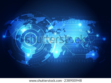 Abstract global technology concept background, vector illustration - stock vector