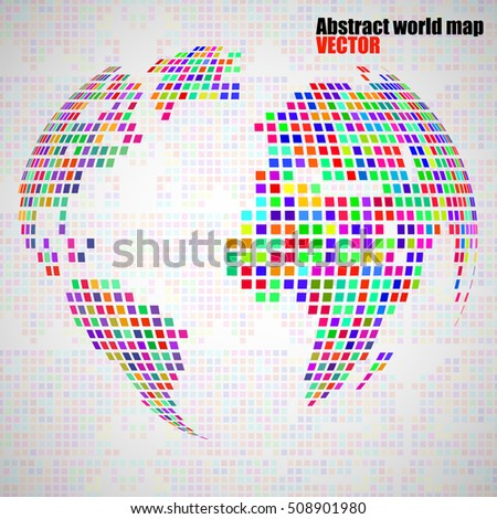 Abstract globe earth from colorful pixels. Vector illustration. Eps 10
