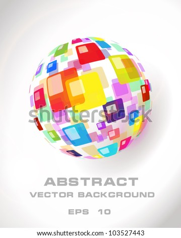 Abstract globe icon made from color pattern