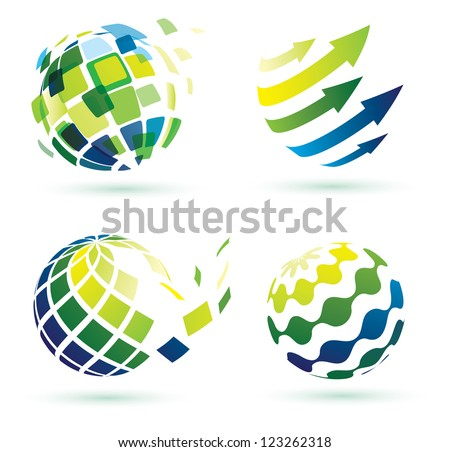 abstract globe icons, business and social networks concept - stock vector