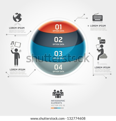 Abstract globe infographics communication technology element template. Vector illustration. can be used for workflow layout, diagram, number options, step up options, web design, banner. - stock vector