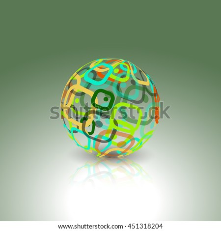 Abstract globe made from retro rectangles. Conceptual Technology Logo