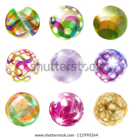 Abstract globe set. Vector circle illustration. - stock vector