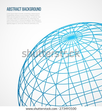Abstract globe sphere from blue lines on white background. Vector illustration - stock vector